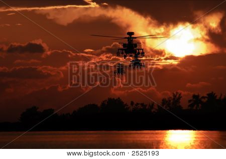 Apache Helicopter Formation