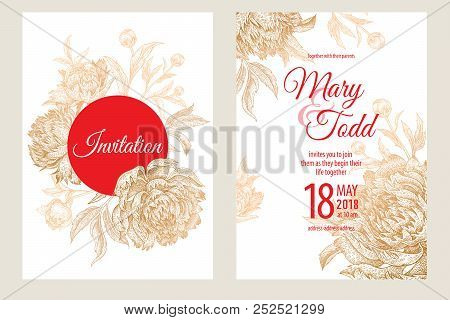 Wedding Invitations Set Templates. Decoration Cards With Garden Flowers And Foliage Of Peonies. Flor