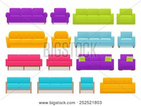 Sofa, Couch, Armchair Set. Vector. Furniture Icons In Flat Design. Animated House Equipment For Livi