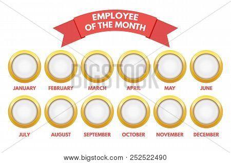 Employee Of The Month Calendar. Vector Illustration Stock