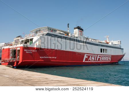 Rafina, Greece - May 15, 2018: FastFerries company boat arriving to the port of Rafina. FastFerries company is one of the largest Greek shipping companies operating in Greece.