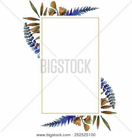 Watercolor Colorful Brake Plants. Leaf Plant Botanical Garden Floral Foliage. Frame Border Ornament