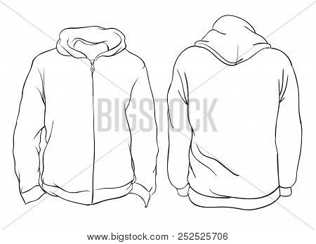 Vector Illustration. Blank Hoodie Jacket Front And Back Views. Isolated On White