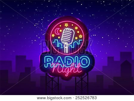 Radio Night Neon Logo Vector. Radio Night Neon Sign, Design Template, Modern Trend Design, Radio Neo
