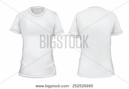 Vector Illustration. Blank Female T-shirt Front And Back Views. Isolated On White