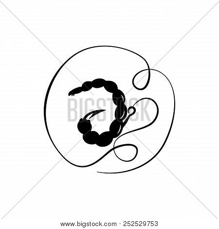 Bait The Bloodworms. Fishhook. Vector Illustration. Simple Icon Fishing Tackle