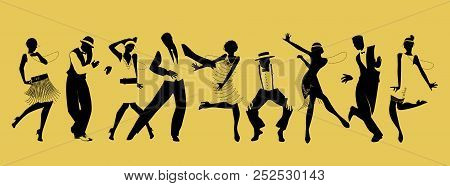 Silhouettes Of Five Girls And Four Gentleman Dancing Charleston