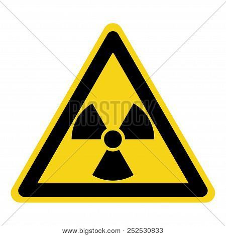Radiation Hazard Sign. Symbol Of Radioactive Threat Alert. Black Hazard Emblem Isolated In Yellow Tr