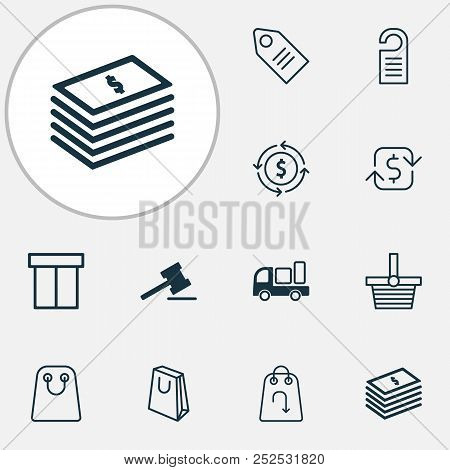 Commerce Icons Set With Shopping Bag, Return Item, Tag And Other Refund Elements. Isolated Vector Il
