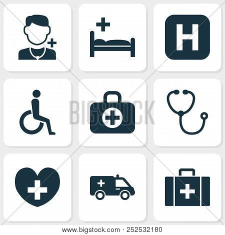Antibiotic Icons Set With Clinic, Doctor, Infirmary And Other Polyclinic Elements. Isolated Vector I