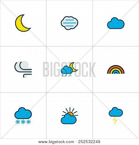 Climate Icons Colored Line Set With Solar, Windy, Thunderstroke And Other Clouded Elements. Isolated