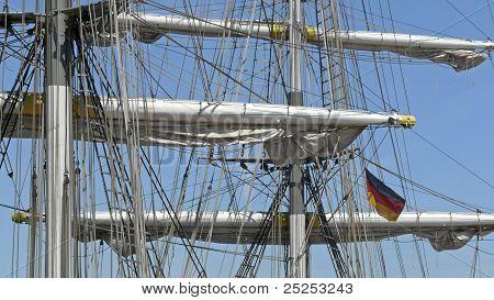 German Flag At The Mast Of A Brig