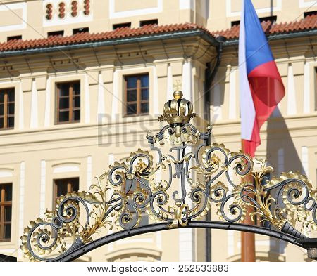 Gate Of Prague Castle The European Capital From The Czech Republic And The National Flag Waving