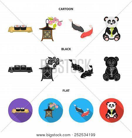Sushi, Koi Fish, Japanese Lantern, Panda.japan Set Collection Icons In Cartoon, Black, Flat Style Ve