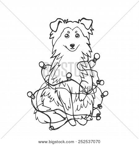 Sheltie Shetland Sheepdog Dog Or Collie In A New Year S Garland