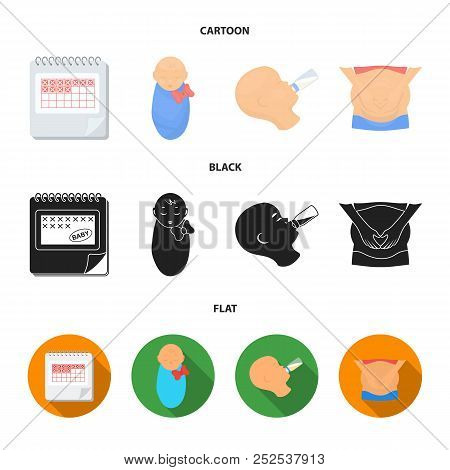 Calendar, Newborn, Stomach Massage, Artificial Feeding. Pregnancy Set Collection Icons In Cartoon, B