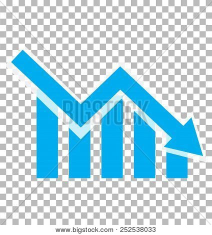 chart with bars declining. Chart icon on transparent background. loss chart. declining graph sign. negative trend symbol. poster