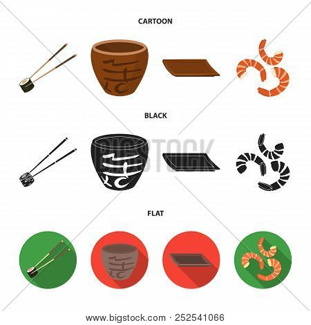 Sticks, Shrimp, Substrate, Bowl.sushi Set Collection Icons In Cartoon, Black, Flat Style Vector Symb