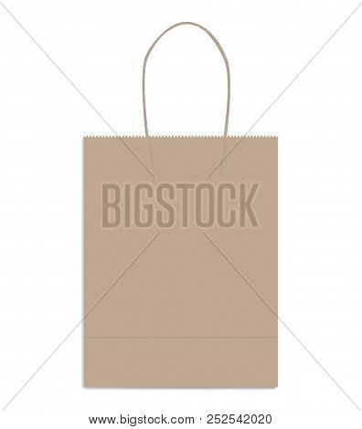 Shopping Or Merchandise Bag With Twisted Rope Handles, Vector Mock Up. Brown Kraft Paper Package Wit