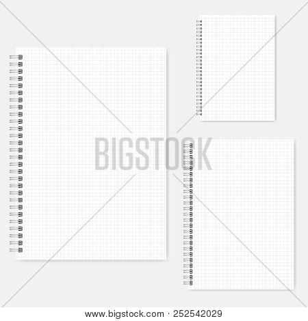 Set Of Wire Bound Graph Paper Notebooks, Vector Mock-up. A4, A5, A6 Size. Spiral Notepads, Template