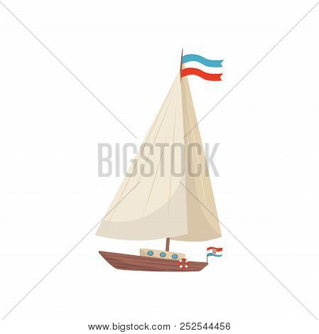 Flat Vector Icon Of Sailing Yacht With Flag Of Croatia And Lifebuoy. Marine Vessel. Wooden Boat With