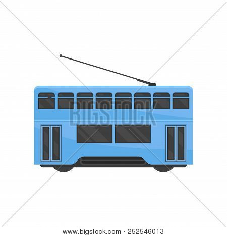 Flat Vector Icon Of Blue Hong Kong Tramway. Public Chinese Transport. Urban Tram-train. Modern Rail