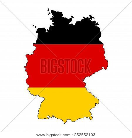 Germany Flag In Form Of Map. Federal Republic Of Germany. National Flag Concept