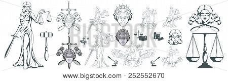 Themis - Ancient Greek Goddess Of Justice. Hand Drawn Scales Of Justice. Symbols Of The Femida - Jus