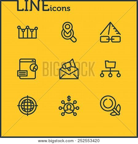 Vector Illustration Of 9 Marketing Icons Line Style. Editable Set Of Adwords Campaign, Directory Sub