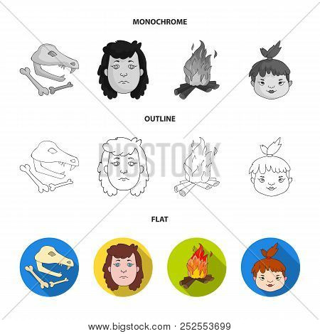Woman, Hair, Face, Bonfire .stone Age Set Collection Icons In Flat, Outline, Monochrome Style Vector