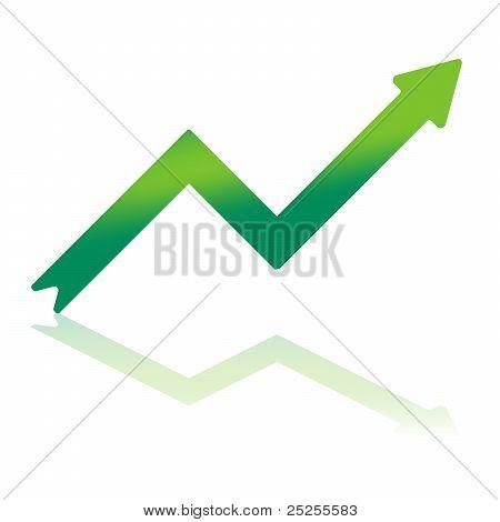 Gradient Green Growth Arrow