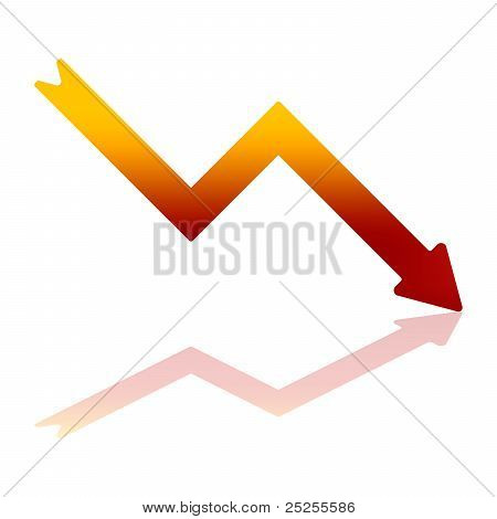 Gradient Red Decline Arrow
