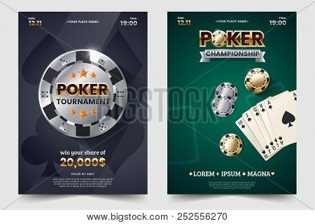 Casino Poker Tournament Invatation Design. Gold Text With Playing Chip And Cards. Poker Party A4 Fly