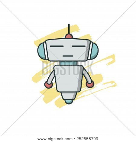 Bot Icon In Yellow Brush Background. Chatbot Icon. Cute Outline Robot. Vector Flat Line Cartoon Illu