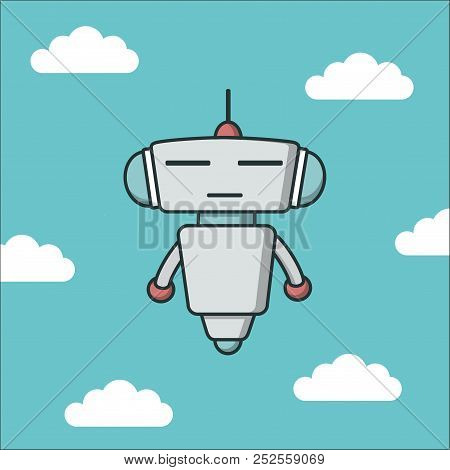 Bot Icon With Blue Rays Background. Chatbot Icon. Cute Outline Robot. Vector Flat Line Cartoon Illus