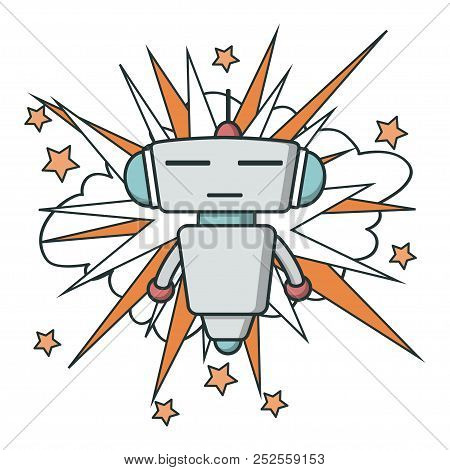 Bot Icon On Explosion Background. Chatbot Icon. Cute Outline Robot. Vector Flat Line Cartoon Illustr