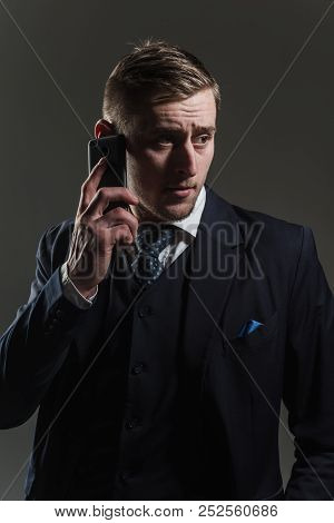 Phone Concept. Man Talk On Mobile Phone. Businessman Use Cell Phone For Business Communication. Alwa
