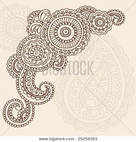 Henna Mehndi Doodles Abstract Floral Mandala and Paisley Vector Illustration Design Elements