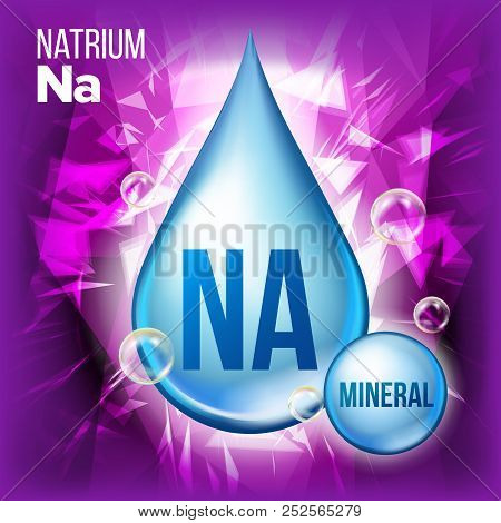 Na Natrium Vector. Mineral Blue Drop Icon. Vitamin Liquid Droplet Icon. Substance For Beauty, Cosmet