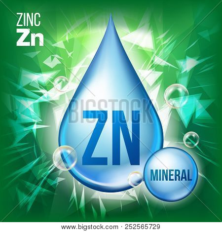 Zn Zinc Vector. Mineral Blue Drop Icon. Vitamin Liquid Droplet Icon. Substance For Beauty, Cosmetic,