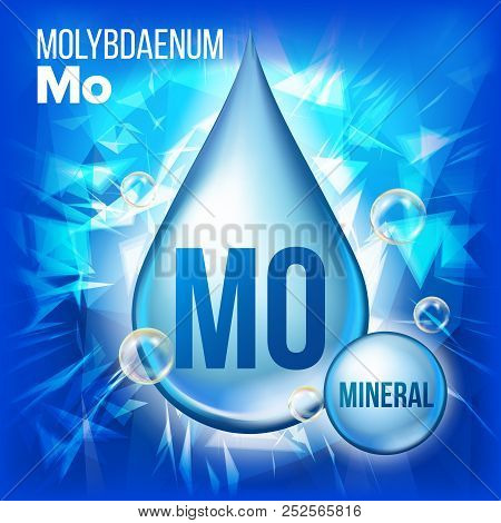 Mo Molybdaenum Vector. Mineral Blue Drop Icon. Vitamin Liquid Droplet Icon. Substance For Beauty, Co