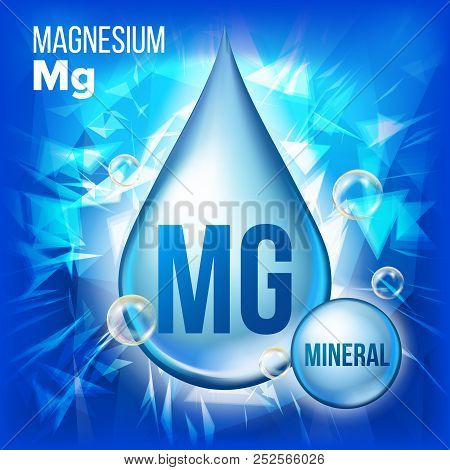 Mg Magnesium Vector. Mineral Blue Drop Icon. Vitamin Liquid Droplet Icon. Substance For Beauty, Cosm