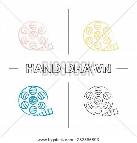 Filmstrip roll hand drawn icons set. Movie reel. Color brush stroke. Isolated vector sketchy illustrations poster