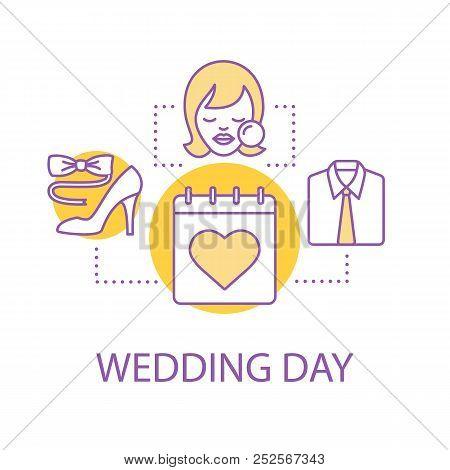 Wedding Day Preparation Concept Icon Holiday Dresakeup Idea Thin Line Ilration Vector