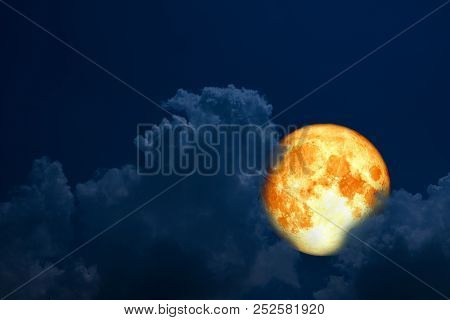 Full Blood Moon Back Over Silhouette Cloud Night Blue Sky