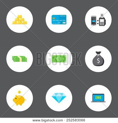 Set Of Banking Icons Flat Style Symbols With Money Bag, Piggy Bank, Dollar And Other Icons For Your
