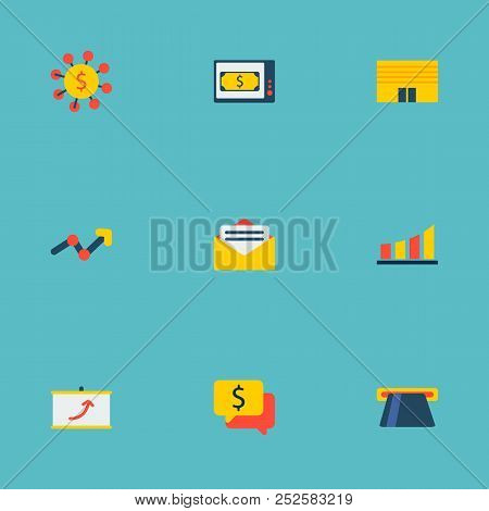 Set Of Economy Icons Flat Style Symbols With Atm, Diagram, Conversation And Other Icons For Your Web