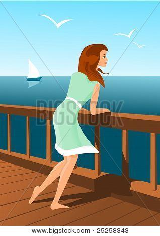 Beautiful woman on a seaside