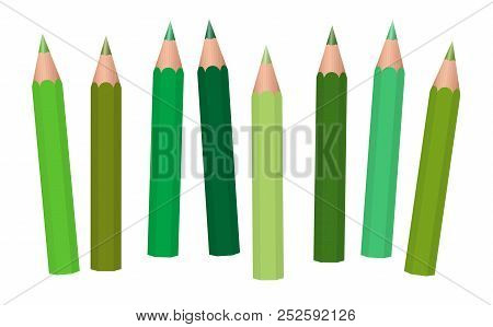 Green Crayons - Short Pencils Loosely Arranged, Different Greens Like Moss, Grass, Olive, Pastel, Li