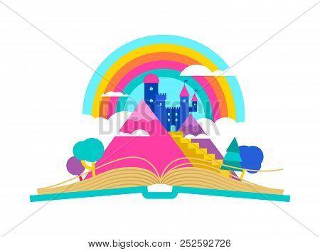 Open Book Illustration With Magic Fairy Tale Kingdom Landscape, Children Imagination And Reading Con